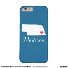 Nebraska Heart Blue Custom Monogram Barely There iPhone 6 Case