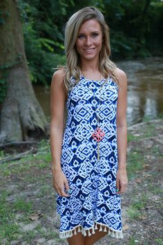Somewhere Out There Dress: Navy - Off the Racks Boutique