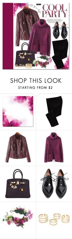 """""""Purplish red"""" by vanjazivadinovic ❤ liked on Polyvore featuring Old Navy, Hermès, Jeffrey Campbell, Rock 'N Rose, Charlotte Russe, purple, polyvoreeditorial and zaful"""