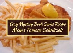 The recipe for Mom's famous schnitzels originally appeared in Judy Volhart's cozy murder mystery Swiss Cheese and Sibling Rivalry (Whine & Cheese Cozy Mystery Series, Book Have you tried this recipe? Tell us in the comments section below. Hungarian Cucumber Salad, Book Club Recommendations, Types Of Potatoes, Dill Weed, Pork Cutlets, Sibling Rivalry, Mystery Series, Shake It Off, Cozy Mysteries