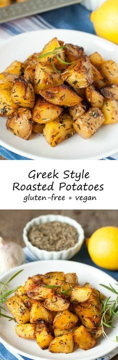 Crisp on the outside and with a creamy center, these lemony Greek style roasted potatoes are a great change of pace!