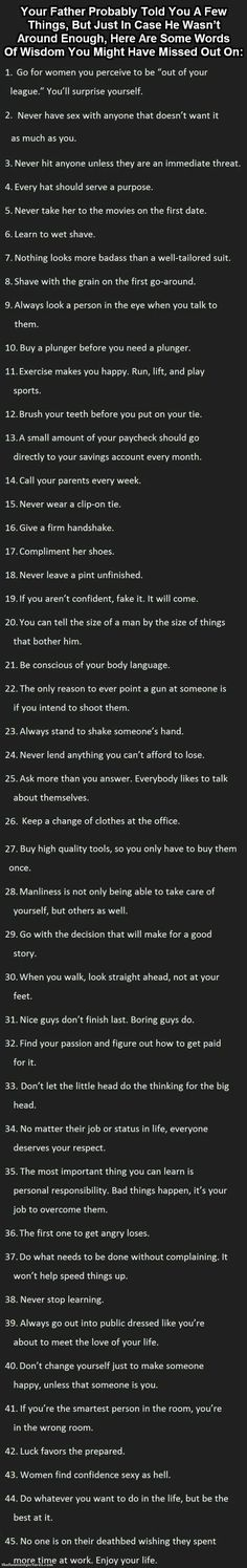 Life manual to live by for the boys...er...men.