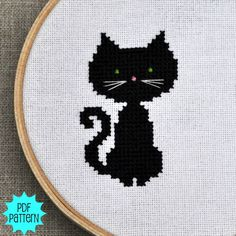 Black Cat Cross Stitch Pattern Download sent by by Sewingseed, $4.00