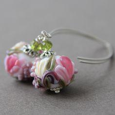 #earrings #lampwork #flower #dangle #Drop #floral