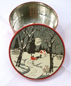 vintage christmas cookie tins - Google Search