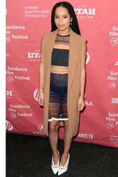 If you need some cold weather outfit inspiration, look no further than Park City. Celebs like Margot Robbie, Zoe Kravitz, and Lena Dunham stepped out in all of their shearling, plaid and L. Bean boot glory for the annual film festival. Punk Fashion, Fashion News, Womens Fashion, Fashion Styles, Zoe Kravitz Style, Sleeveless Coat, Sundance Film Festival, Fall Jackets, Celebrity Dresses
