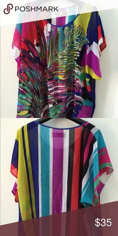Sheer silk blouse Beautiful blouse with amazing colors, perfect for summer and beach, loose fit, custom made, unique. Tops Blouses