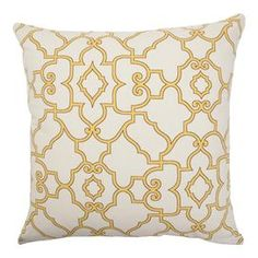 "Cotton pillow with lattice motif. Made in the USA.   Product: PillowConstruction Material: Cotton cover and 95/5 down fillColor: ButtercupFeatures:  Insert includedHidden zipper closureMade in the USA Dimensions: 18"" x 18""Cleaning and Care: Spot clean"