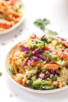 A super simple THAI QUINOA SALAD with all the veggies and a creamy almond butter dressing!