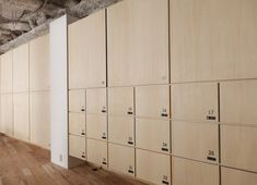 Mozilla Japan Open Source Office by Nosigner Office Lockers, Wood Lockers, Coworking Space, Office Interior Design, Office Interiors, Open Source Office, Locker Designs, Mail Room, Changing Room