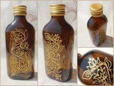 Glass FLACON | gift, Halloween, dinnerware, bottle, barware, perfumware, home decor | stained, hand painted, vitrage | Asia, India | OOAK