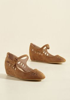 A Leap of Their Own Wedge - Mid, Tan, Solid, Cutout, Work, Casual, Winter, Faux Suede, Good, Wedge, Mary Jane