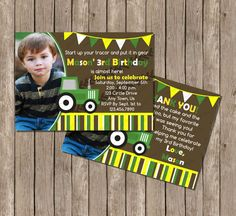 10 OFF Sale Tractor Birthday Invitation Any Age by SweetPeaPrintz