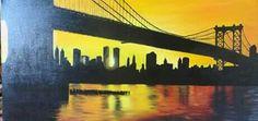 """Oleo sobre lienzo ,""""puente de brooklyn"""" autora :Antonia  Márquez"""