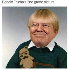 Donald Trump's second grade picture this is so weeeeeiiird this is so weird