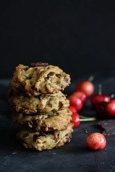 Cherry Chocolate Chip cookies with coconut oil