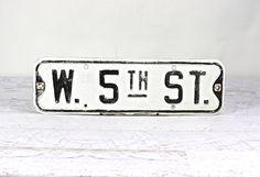 Vintage Metal Street Sign Street Sign Black And by HuntandFound