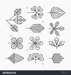 Hipster geometrical leaves, set of isolated symbols, logos.