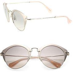 Miu Miu 52MM Metal Phantos Sunglasses (€365) ❤ liked on Polyvore featuring accessories, eyewear, sunglasses, apparel & accessories, uv protection sunglasses, miu miu, lens glasses, metal sunglasses and uv protection glasses