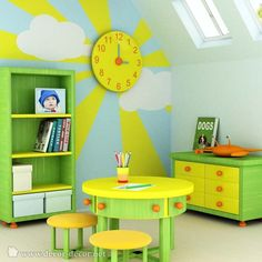 Kid's room--- Gorgeous colours and wall decorations. Love the addition of the circular table, too!