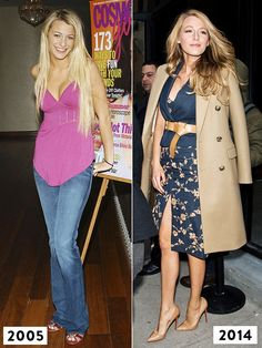 Blake Lively's style evolution from 2005 to 2014:  from platinum hair and cotton tank tops to sophisticated dresses and camel coats