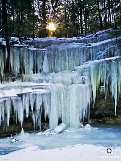 Sunrise and Ice Formation in Hocking Hills by Jim Crotty