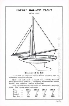 An early original Star Yachts of Birkenhead 1935 trade catalogue with line drawings depicting the full range of Star model pond yachts available at the time Vintage Models, Vintage Toys, Sailboat Living, Small Sailboats, Model Ships, Pond, Cool Designs, How To Memorize Things, Catalog