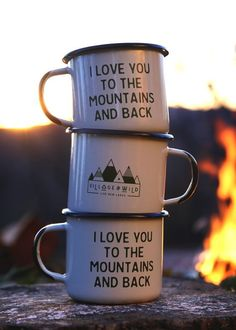 Outdoorsy gift for the nature lover on your holiday list! I love you to the mountains and back camp mug.: