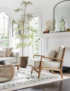 Boho Living Room, Accent Chairs For Living Room, Home And Living, Living Room Decor, Earthy Living Room, Log Cabin Living, Apartment Decoration, Room Decorations, Mediterranean Decor