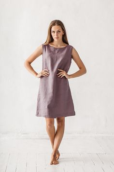 Linen dress, Dusty lavender dress, Loose dress, Linen tunic, Minimal linen tunic, Stone washed, Linen clothes, Organic linen, Linen