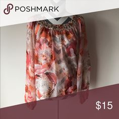 Multicolored blouse Perfect for spring! Multicolored orange blouse with embellished neckline Jennifer Lopez Tops Blouses