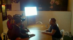 Being interviewed for the Vernard Alexander Film project at Carmi's