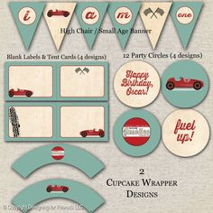 Printable Retro Race Car Birthday Party Pack in a vintage red and aqua color scheme. Party printable files will be emailed as an 8.5 x 11 multi-page PDF and are compatible with any print shop that doesnt require bleeds, such as Staples, Kinkos, Office Max, Office Depot, or even