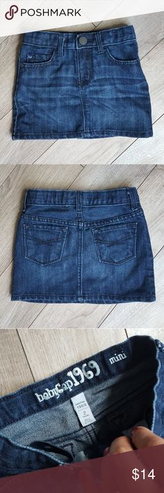 Baby Gap Mini Skirt This is a classic Baby Gap blue jean mini skirt.  It's in excellent condition and simply adorable all throughout the year.  Wear it with cute tights and boots or with a tank top and sandals.  You can't go wrong with this piece in your little ones closet.   83% cotton 17% polyester Size 2 years GAP Bottoms Skirts