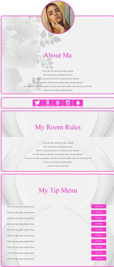 CLTE Gina DeLuxe -  available for live edition via our online tool. Chaturbate bio design Gina DeLuxe