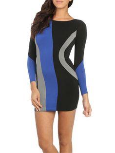 Colorblock Swirl Mini Dress from ArdenB.com