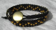 Black and gold couture genuine black leather by WhrapsodyWraps, $35.00