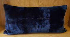 Super shiny Shorn Lamb skin Cushion, Dark Blue.