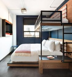 hotel bedroom Luxury Hotels with Bunk Beds Are Seriously Trending, Heres Why Bunk Bed Rooms, Bunk Beds Built In, Bunk Beds With Stairs, Kids Bunk Beds, House Bunk Bed, Cabin Bunk Beds, Double Bunk Beds, Modern Bunk Beds, Metal Bunk Beds