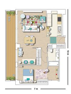 Small apartment layout - two (or three) long containers, side by side, could do this, depending on the amount of space you want. Small Apartment Plans, Small Apartment Layout, Single Apartment, Small Apartments, Sims House Plans, House Layout Plans, Small House Plans, House Floor Plans, Layouts Casa