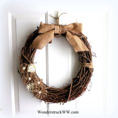 Burlap/Jute Wreath  Everyday Wreath  by WeddingsAndWreaths on Etsy