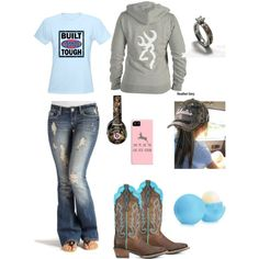 Minus the ford shirt, replace with Chevy Country Girl Outfits, Country Girl Style, Country Fashion, Country Girls, My Style, Country Life, Country Wear, Country Music, Camo Outfits