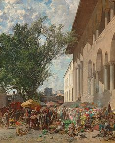 View Mercato a Costantinopoli: A busy market in the courtyard of the New Mosque, Constantinople By Alberto Pasini; oil on canvas; 51 ¼ x 41 in. Access more artwork lots and estimated & realized auction prices on MutualArt. Anima Mundi, Street Dogs, Venice Biennale, Great Paintings, Historical Art, Italian Artist, Deconstruction, Mosque, Art