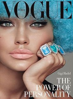 Beautiful in any style: Last year Gigi worked a blue afro for Vogue Italia...