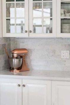 Gray Subway Tile Backsplash, White Kitchen Backsplash, Marble Tiles, Carrara Marble, Kitchen Reno, Kitchen Remodeling, Marble Kitchen Ideas, Marble Kitchen Countertops, Traditional Kitchen Backsplash