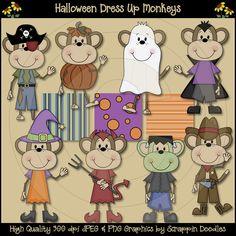 Halloween Dress Up Monkeys Clip Art Download
