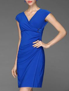 Zipper V-neck Mini Dress