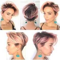 Get this Hairstyle:http://hairstyleology.com/pink-layered-undercut-pixie/ - Pink Layered Undercut Pixie
