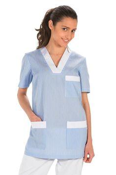 Tunique de travail femme bleu et blanc - Blouses médicales Femme