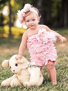 Light Pink Lace Romper and Headband. Adorable for photo ops.